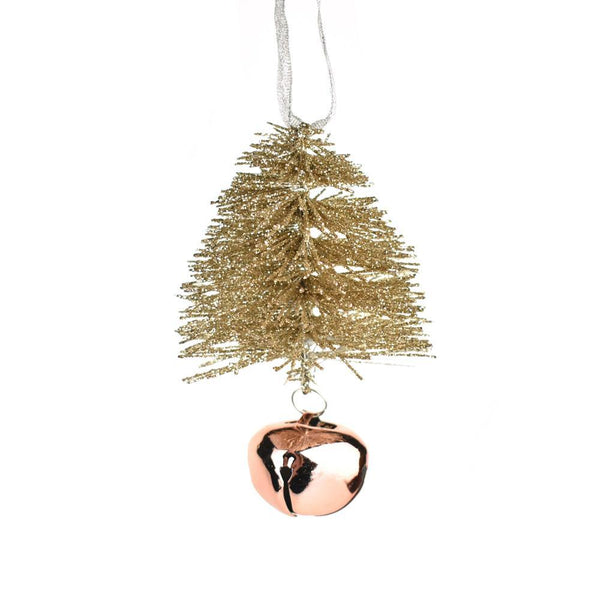 Glittered Bottle Brush Christmas Ornament with Bell, Rose Gold, 5-Inch