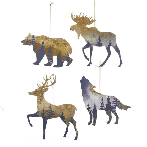 Mountain Animal Silhouette Metal Christmas Ornaments, 4-Piece