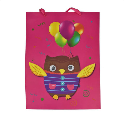 Googly Eyes Owl Balloons Baby Shower Paper Gift Bag, Fuchsia, 16-1/2-Inch