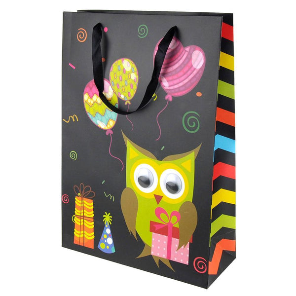 Googly Eyes Owl Balloons Baby Shower Paper Gift Bag, Black, 16-Inch