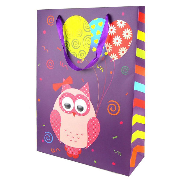 Googly Eyes Owl Balloons Baby Shower Paper Gift Bag, Purple, 16-Inch