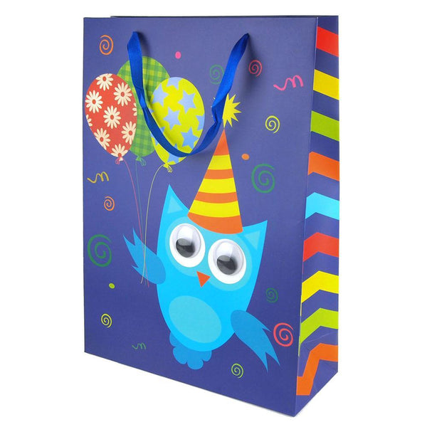 Googly Eyes Owl Balloons Baby Shower Paper Gift Bag, Blue, 16-Inch