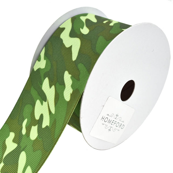 Camouflage Grosgrain Ribbon, 2-Inch, 10-Yard, Green
