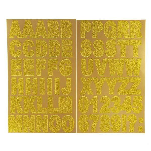 Glitter Caps Alphabet and Number Stickers, Gold, 1-3/8-Inch, 62-Piece