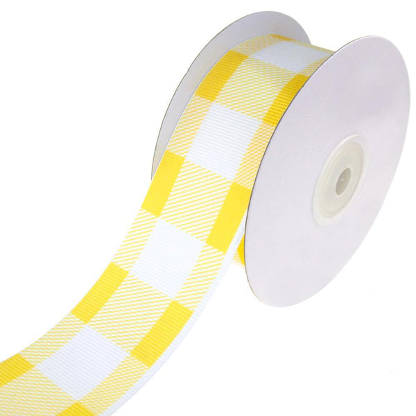 Colorful Grosgrain Plaid Ribbon, Yellow, 1-1/2-Inch, 10-Yard