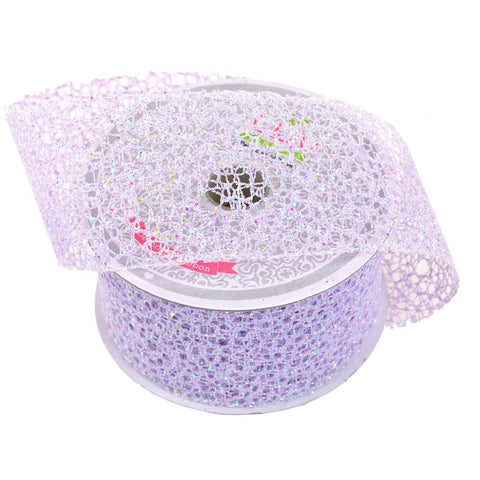Glitter Web Mesh Ribbon, 2-Inch, 10 Yards, Lavender
