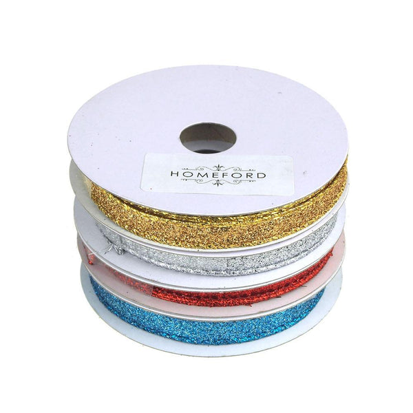 Metallic Glitter Wired Christmas Ribbon, 3/8-Inch, 10 Yards
