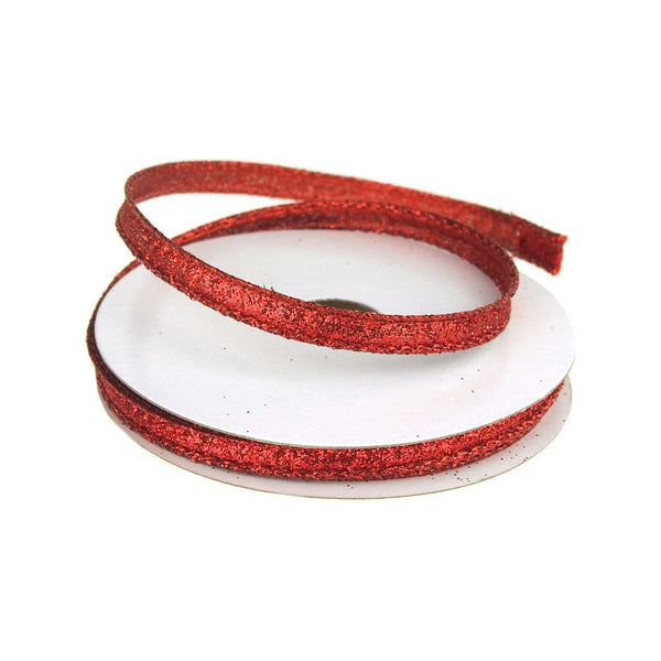 Metallic Glitter Wired Christmas Ribbon, Red, 3/8-Inch, 10 Yards