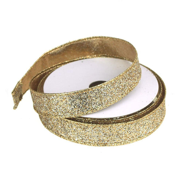 Metallic Glitter Wired Christmas Ribbon, Gold/Silver, 7/8-Inch, 10 Yards