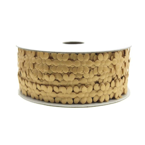 Polyester Flower Garland Ribbon, 3/8-Inch, 25-Yard, Gold