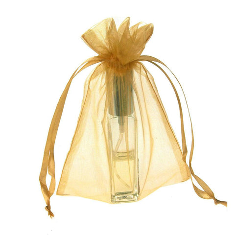 Organza Favor Pouch Bag, 5-Inch x 6-1/2-Inch, 12-Count, Gold