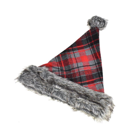 Plush Cuffed Mountain Cabin Plaid Santa Hat, 14.5-Inch