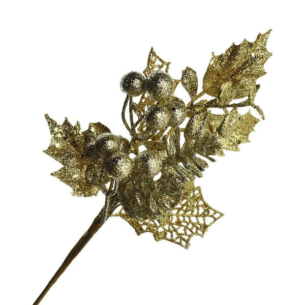 Glittered Pinecone and Berry Branch Pick, 10-1/2-Inch
