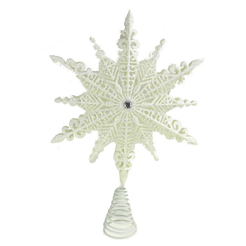 Ancient High Shine Star Tree Top, White, 11-Inch