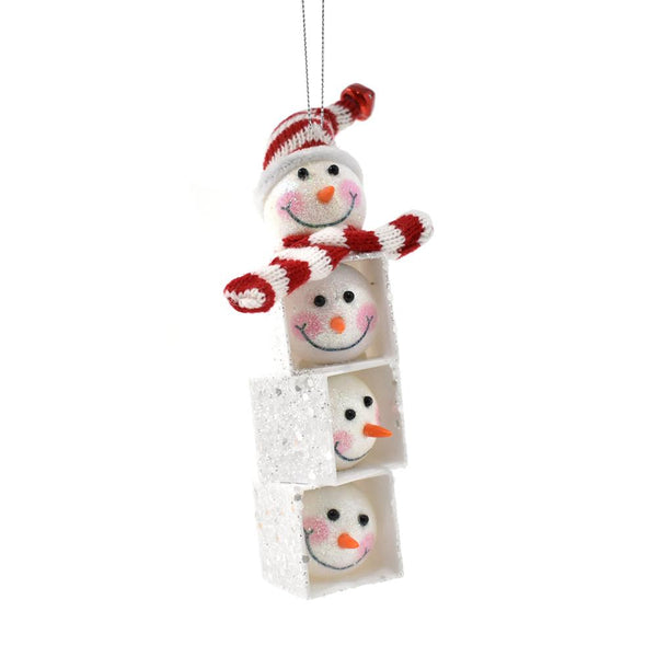 Hanging Glitter Snowman Head and Friends Cubby, White/Red, 6-3/4-Inch
