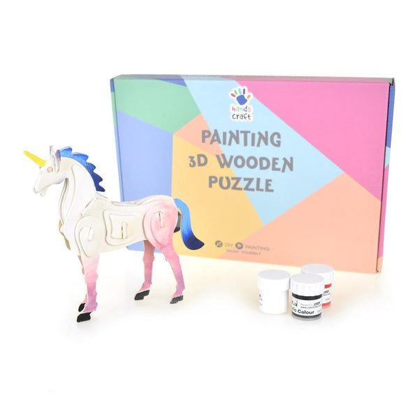 Unicorn DIY Painting 3D Wooden Puzzle, 7-Inch