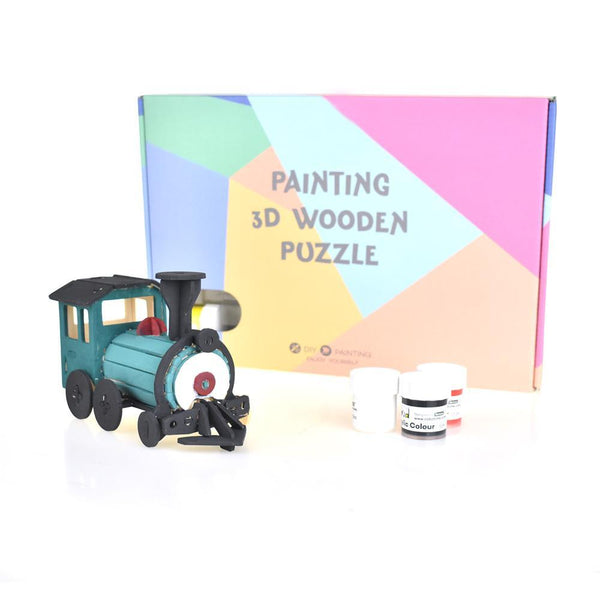 Steam Train DIY Painting 3D Wooden Puzzle, 4-Inch