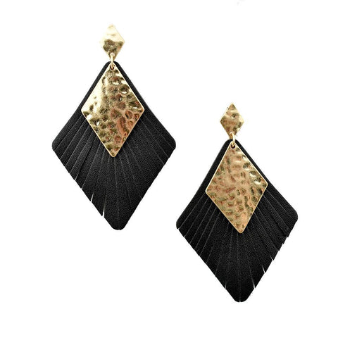 Black Diamond Shaped Leather with Metal Earrings, 3-Inch