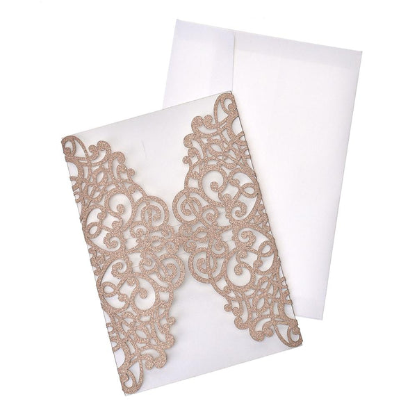 Glitter Scroll Swirl Laser Cut Invitations, 7-1/4-Inch, 8-Count, Rose Gold