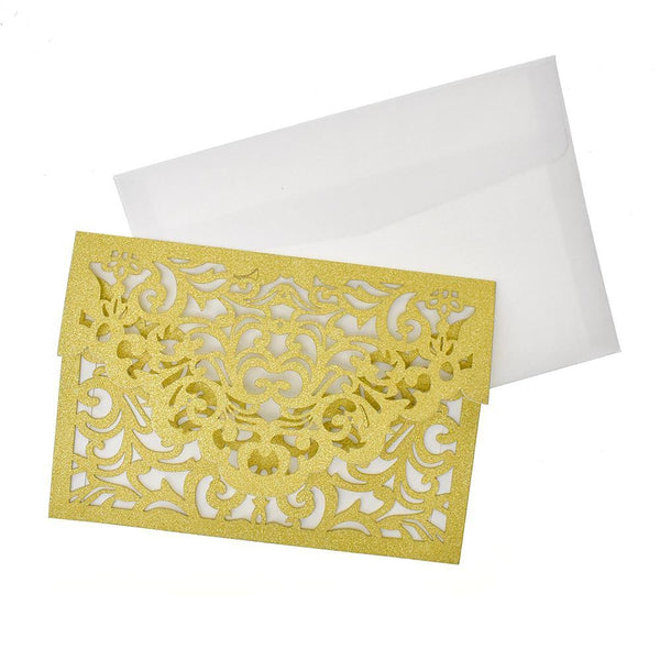 Baroque Glitter Laser Cut Invitations, 7-1/4-Inch, 8-Count, Gold