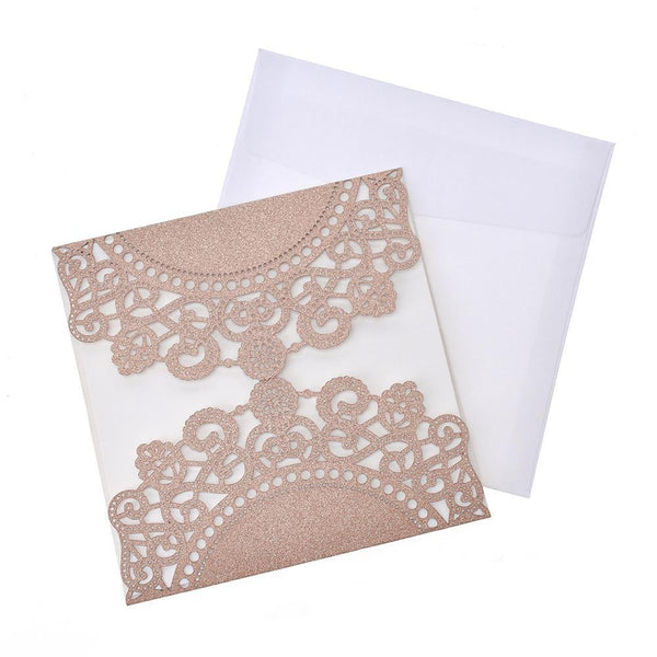 Mandala Lace Glitter Laser Cut Invitations, 5-3/4-Inch, 8-Count, Rose Gold