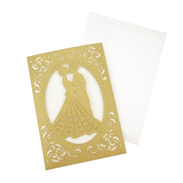 Mr. & Mrs. Laser Cut Glitter Invitations, 7-1/4-Inch, 8-Count, Champagne