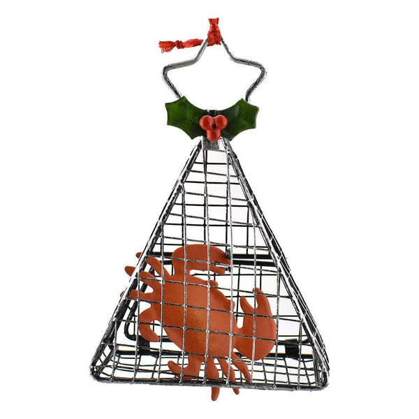 Wired Cage Crab Christmas Ornament, 4-Inch