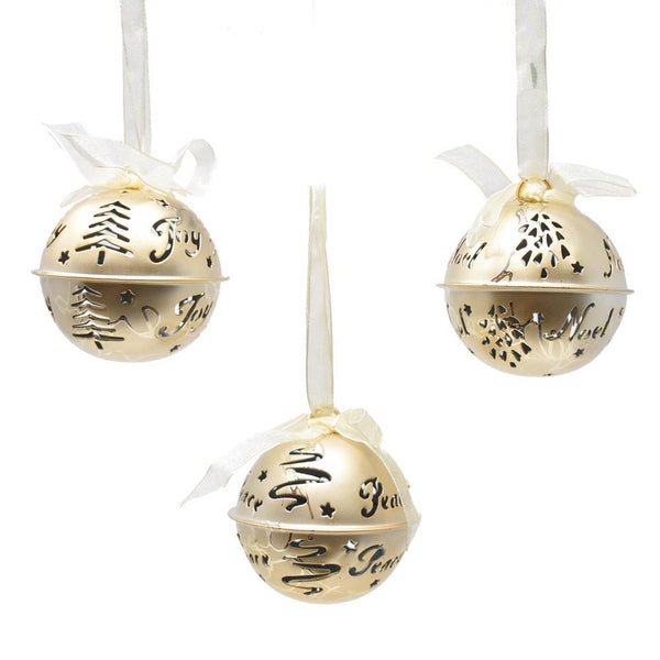Joy, Noel, and Peace Hanging Metal Bell Christmas Ornaments, 2-1/2-Inch, 3-Piece
