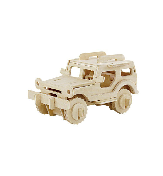 Explorer Jeep DIY 3D Wooden Puzzle, Natural, 2-3/4-Inch