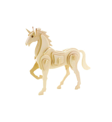 Mythical Unicorn DIY 3D Wooden Puzzle, Natural, 6-1/2-Inch
