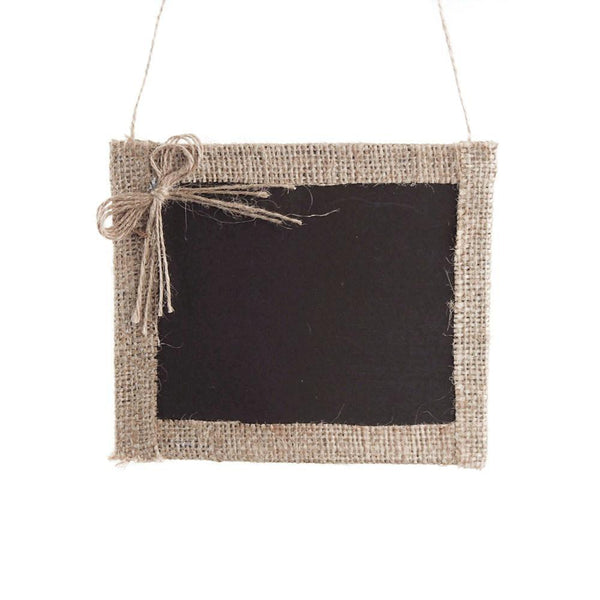 Hanging Chalkboard Frame with Burlap Border, 6-Inch