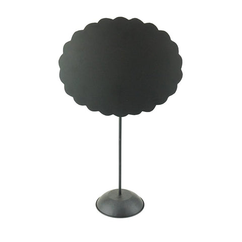 Scalloped Oval Magnetic Board with Stand, Black, 21-3/4-Inch