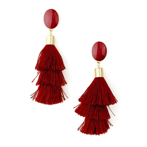 Three Layered Tassel Drop Earrings, 3-1/2-Inch