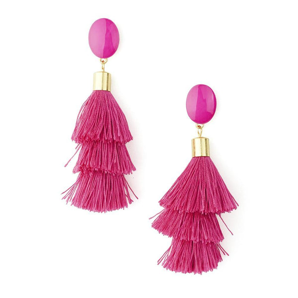 Three Layered Tassel Drop Earrings, Fuchsia, 3-1/2-Inch