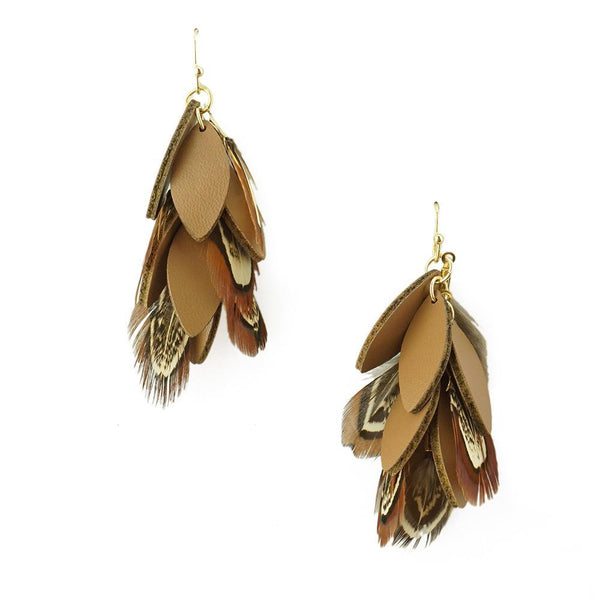 Hanging Leather and Feather Cluster Earrings, Brown, 1-3/4-Inch