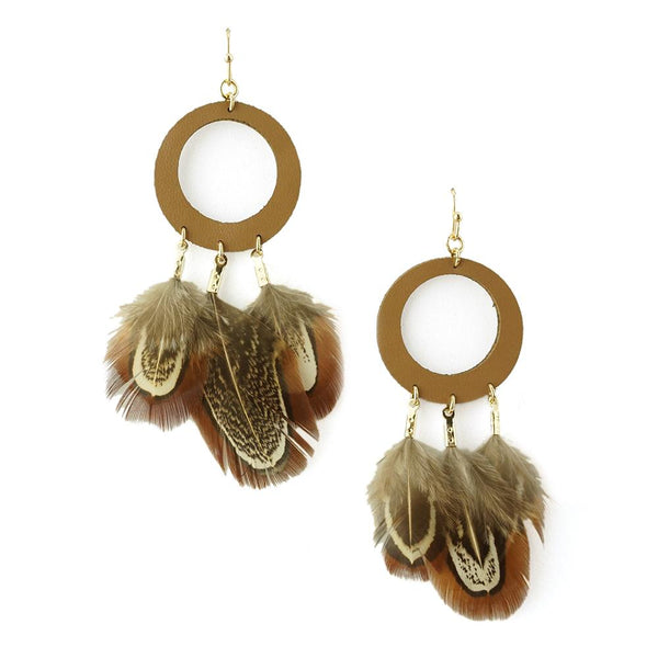 Hanging Leather and Feather Hoop Earrings, Brown, 3-Inch