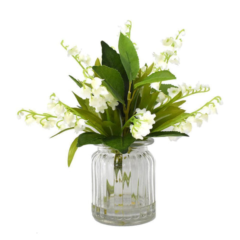 Artificial Lily of the Valley with Vase, 9-Inch
