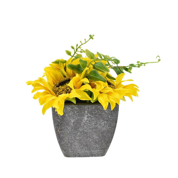 Artificial Sunflower in Pot, 4-1/4-Inch