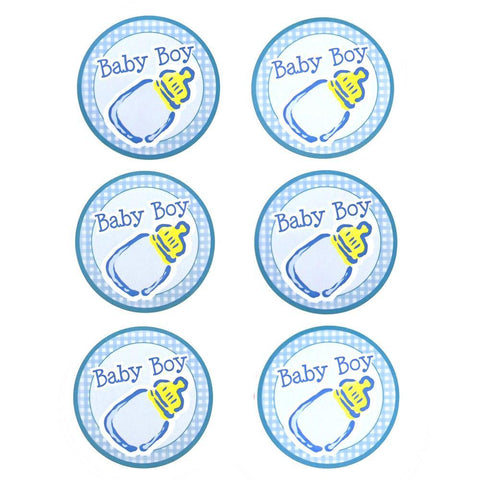 Baby Boy Milk Bottle Seal Paper Stickers, Light Blue, 2-Inch, 12-Count