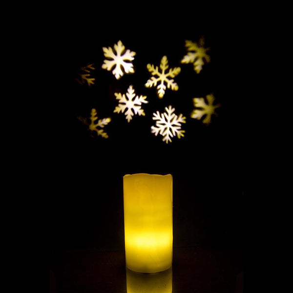 Essence Glow Flameless Snowflake Projector Candle, Ivory, 6-Inch
