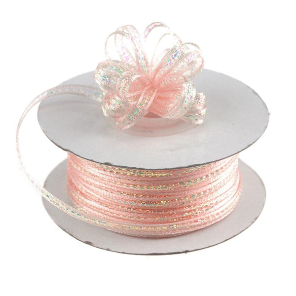 Iridescent Pull Bow Christmas Ribbon, 1/8-Inch, 50 Yards, Light Pink
