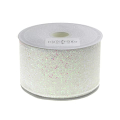 Metallic Disco Bling Christmas Ribbon, 2-Inch, 10 Yards. White