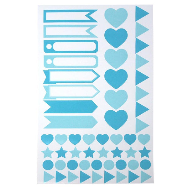 Assorted Shape and Pennant Label Scrapbooking Stickers, Blue, 6-Sheet