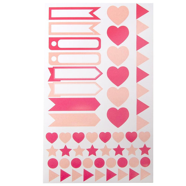 Assorted Shape and Pennant Label Scrapbooking Stickers, Pink, 6-Sheet