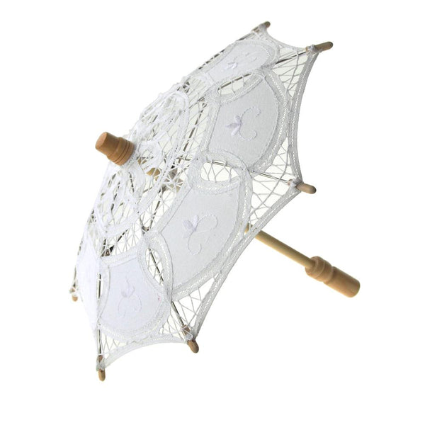 Mini Vintage Cotton Lace Bridal Wedding Parasol, 11-D