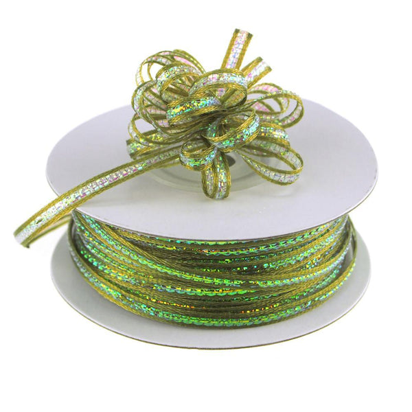 Iridescent Pull Bow Christmas Ribbon, 1/8-Inch, 50 Yards, Moss Green