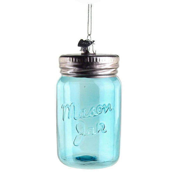 Glass Mason Jar Noble Gems Ornament, Blue, 3-1/2-Inch