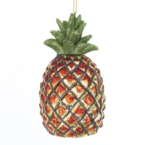 Hanging Glass Glitter Top Pineapple Christmas Ornament, Yellow/Orange, 4-3/4-Inch