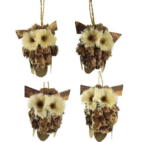 Pinecone Buri Owl Ornaments with Twine Hanger,  3-Inch, 4-Piece