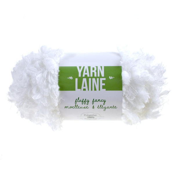 Fluffy Fancy Solid Colored Polyester Yarn Bundle, 65-Yard, White